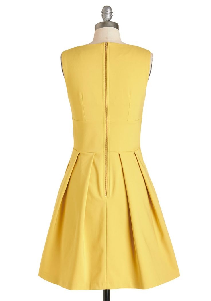 Gilded Gardens Dress. What a day to stroll about the museum gardens in this deep yellow A-line dress from Closet, a British clothing brand exclusively produced in the UK. #yellow #modcloth