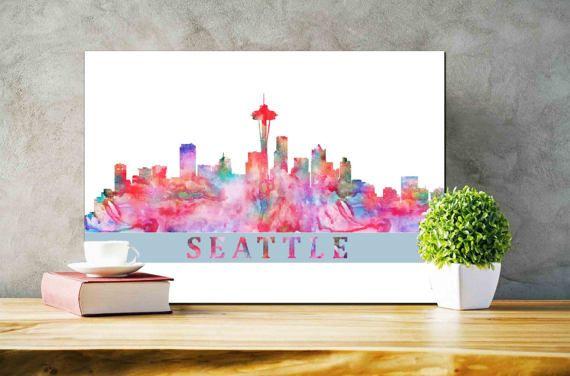 Seattle Skyline Wall Art Seattle Cityscape by DaniJArts on Etsy