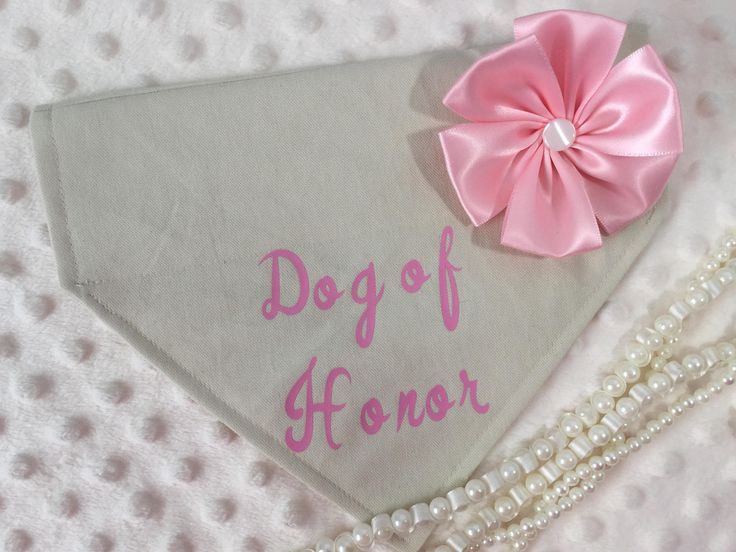 Cream Custom Dog of Honor, baby security, baby announcement, birthday collar bandana by AmandasBandanas on Etsy