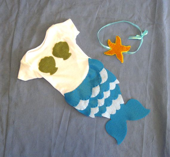 Baby Mermaid Halloween Costume - turquoise, blue, green - Baby Halloween Costume - Starfish - ocean - Made with Felt Applique on Etsy, $30.00