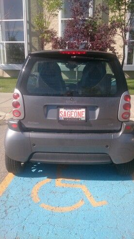 Cool license plate for a smart car. Sage means wise in french. Although not a great car to travel mountain roads with when driving to a #Snow Golf course.