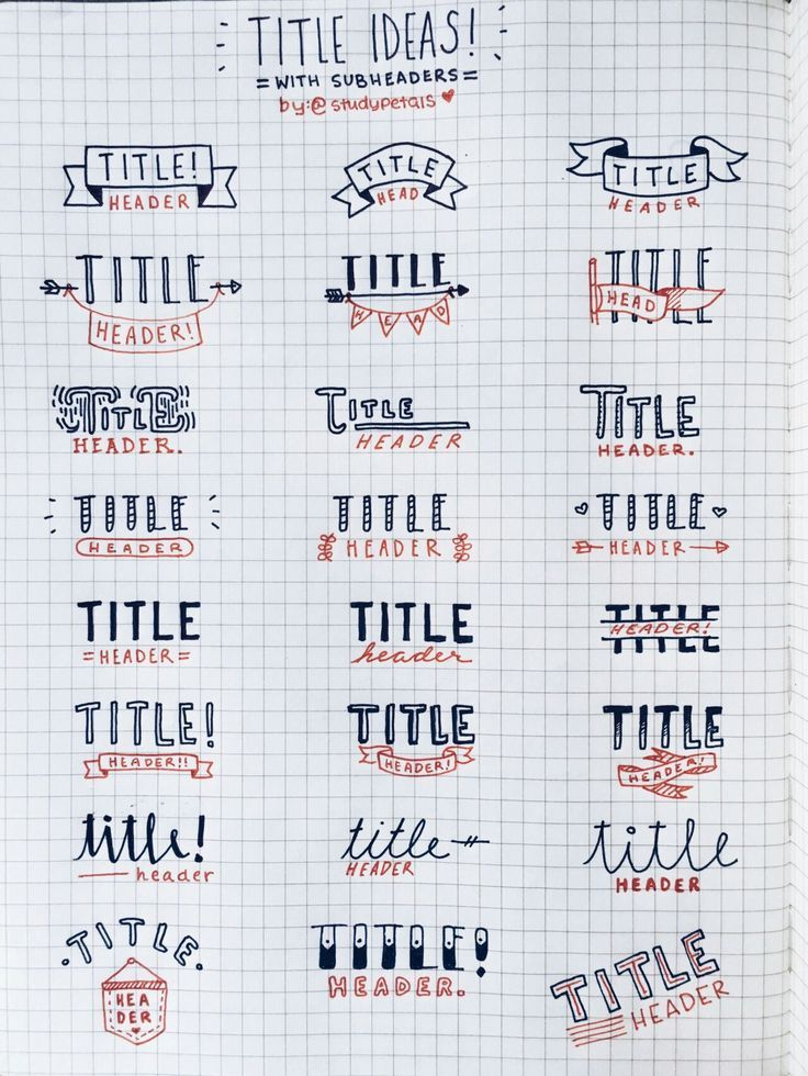 Different font ideas for bullet journals