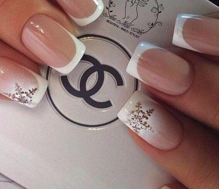Accurate nails, Christmas nails, Ideas of gentle nails, Light french nails, Medium nails, New year nails ideas 2017, ring finger nails, Snowflake nail art