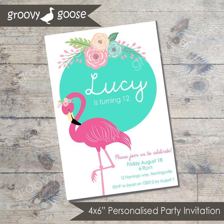 Floral Flamingo Party invitation DIY Printable Flamingo theme party Flamingo Invitations by groovygoose on Etsy