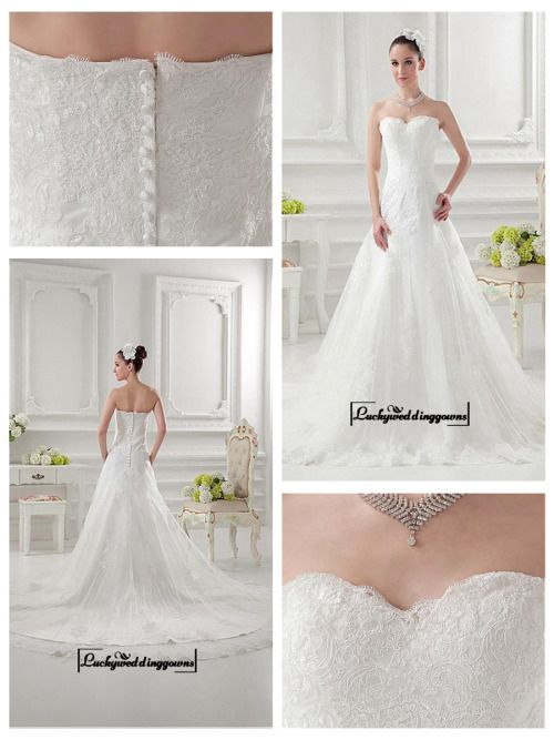 Alluring Satin&Tulle A-line Sweetheart Neckline Natural Waistline Wedding Dress