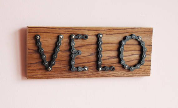 Bicycle Chain Sign Velo On Reclaimed Oak Board Handmade For Wall