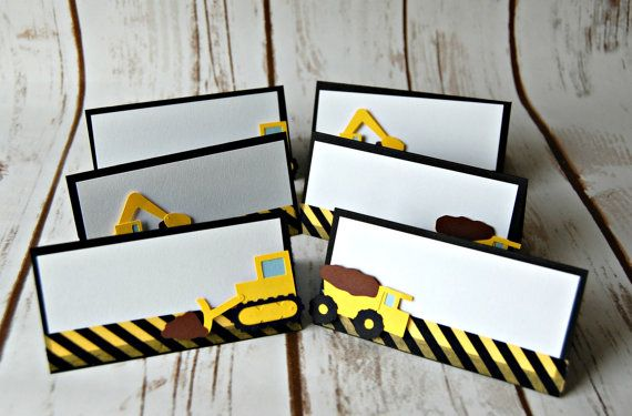 Construction Themed Birthday Party Name Tags- Dump Truck Party Decorations (set of 6