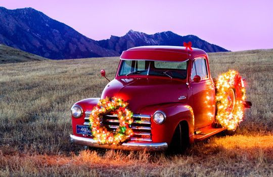 Old Pickup Lights : Old truck with christmas lights chevy pickup