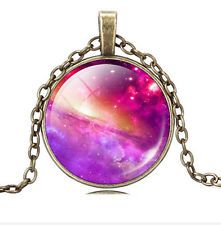 Purple star glass Cabochon Pendant Necklace gold color girl's jewelry new