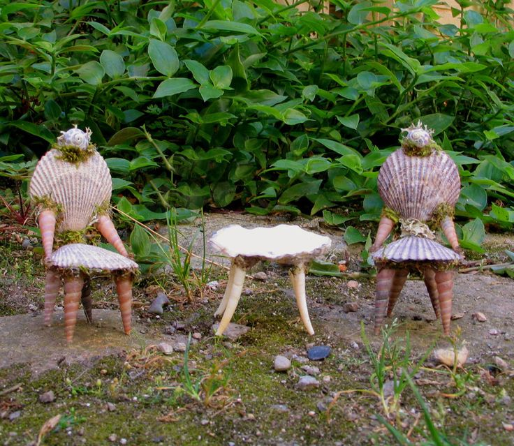 furniture, accompanied by a table of oyster and dentalia shells. Chairs measure - Two tiny fae chairs made of shells and moss in the tradition of 18th century shell grotto furniture, accompanied by a table of oyster and dentalia shells. Chairs measure approximately 9 centimeters in height and are of a slightly smaller scale than much of my furniture.