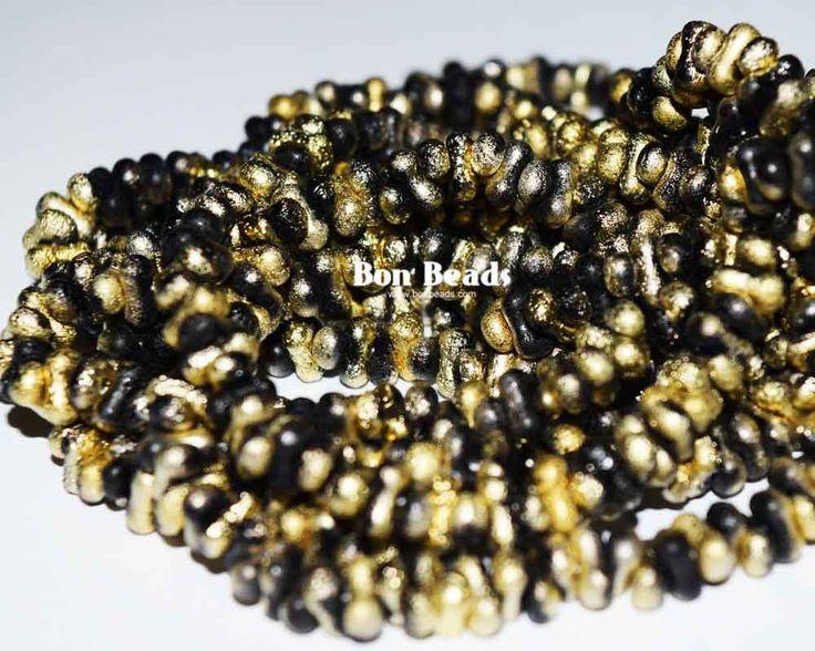 3x6mm Black Gold Etched Farfalles @ www.bonbeads.com