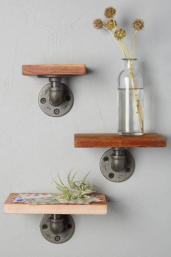 Industrial Rustic Iron Pipe 3 Piece Shelf Set