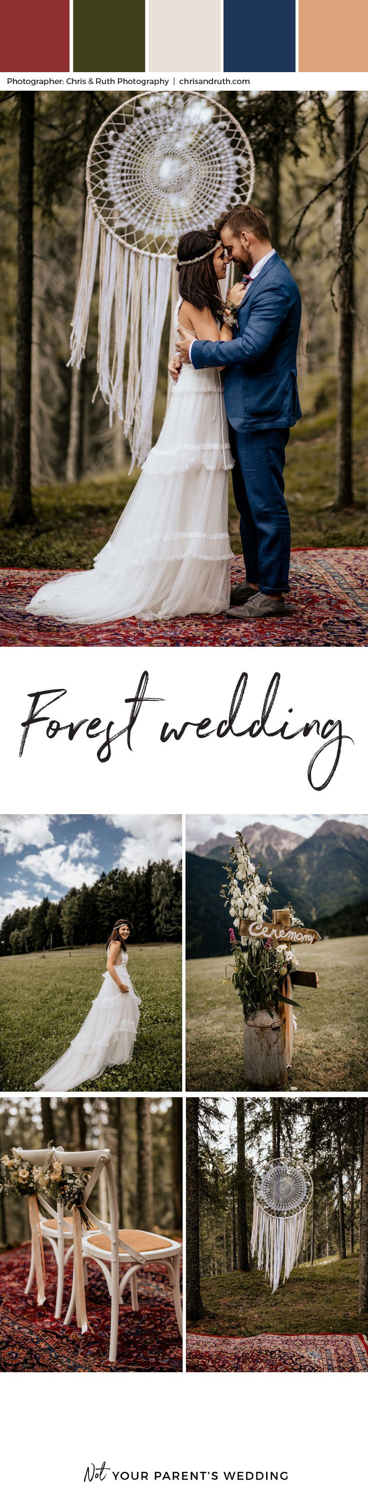What can we say about this beautiful forest wedding captured beautifully by photographers Chris & Ruth Photography?  It has such a free spirited vibe, from the dreamcatcher alter to the vintage VW bus the bride pulls up in. Loving this vintage hippie wedding so hard. The groom chose a fun blue suit and the bride, a whimsical lacy flowy dress that pair beautiful together. forest wedding, boho wedding, hippie, flowy dress, wedding themes, wedding inspiration, wedding ideas