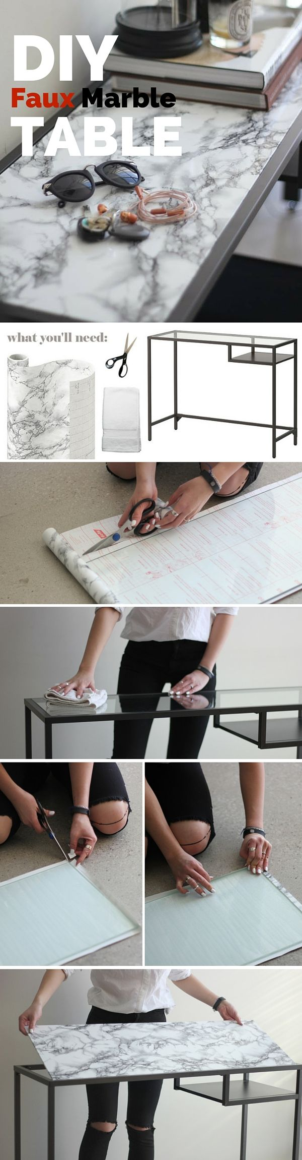 Check out the tutorial: #DIY Faux Marble Table #crafts #decor