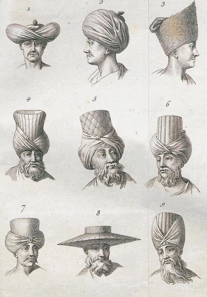 maybe they wore funny hats FB Ottoman Imperial · Ottoman era hats, 1774. Osmanlı dönemi başlıklar, 1774.