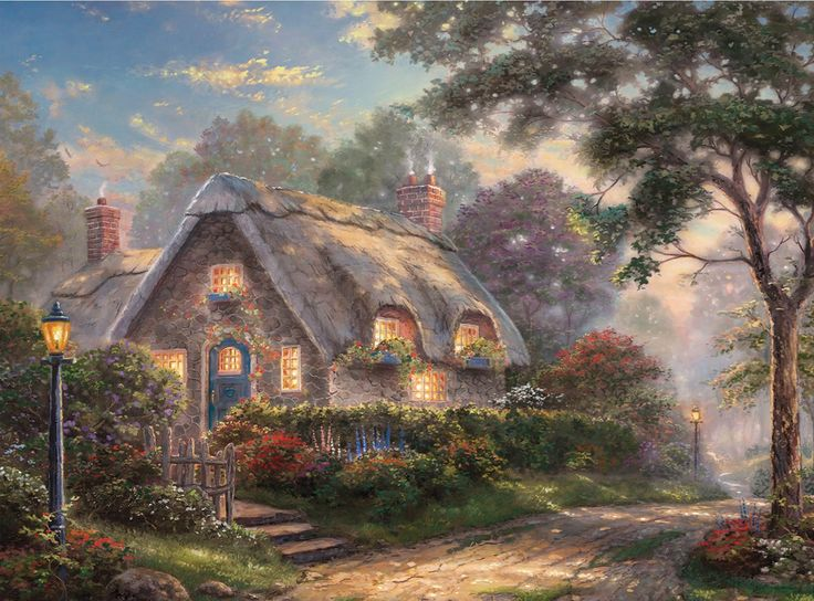 """Are you a Fan of Thomas Kinkade? You'll LOVE the large selection of Thomas Kinkade Cottage Puzzles. These jigsaw puzzles for adults are inspired by the artwork of """"The Painter of Light"""" Thomas Kinkade."""