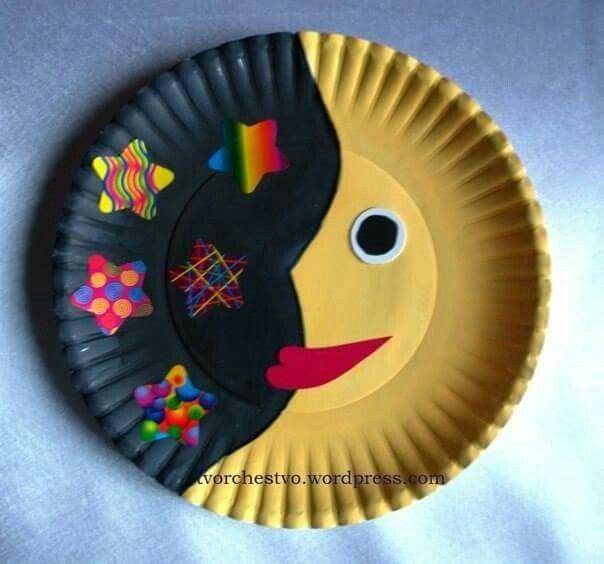 Солнце и Луна: поделки из бумажных тарелок