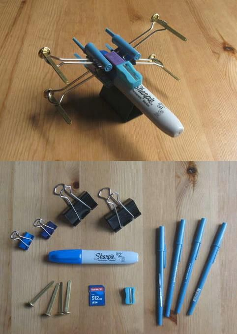 How to make an x-wing out of office supplies - clever: not sure I'd have cause to make one but too cute not to pin
