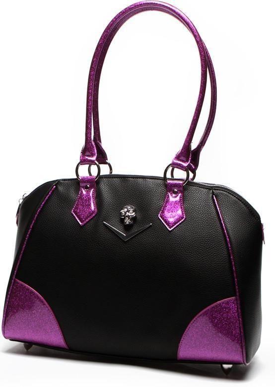 Lux De Ville - Elvira Large Chevron Black Matte Electric Purple Sparkle Tote Bag