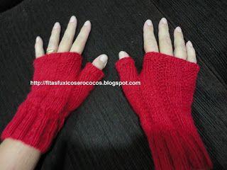 Fitas Fuxicos e Rococos: Luva de lã sem dedos de trico