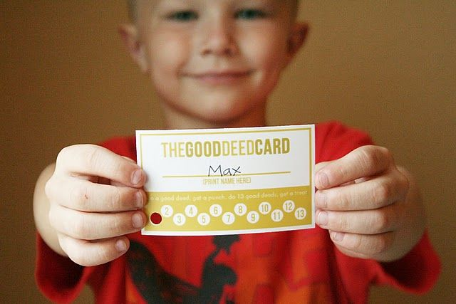 good deed punch cards, for a change from our sticker chart... Could also be used for behavior!