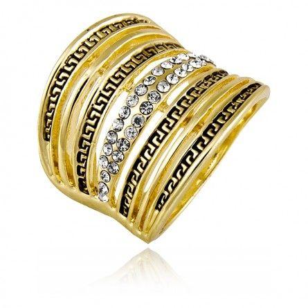 Ekskluzywny pierścionek, w którym złoto pięknie przeplata się z czernią i kryształkami. #Marco #Diamanti #biżuteria #złoto