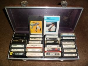 26 8track tapes with case $60 (some sealed):   The Beatles John Lennon Billy Joel Stevie Wonder Grease Michael Jackson Eagles Paul Simon Simon & Garfunkel  The Moody Blues  Bachman Turner Overdrive REO Speedwagon  Styx  Supertramp Jim Croce  Cat Stevens  Elvis Presley  Earth Wind and Fire Neil Diamond  Queen Barbra Streisand