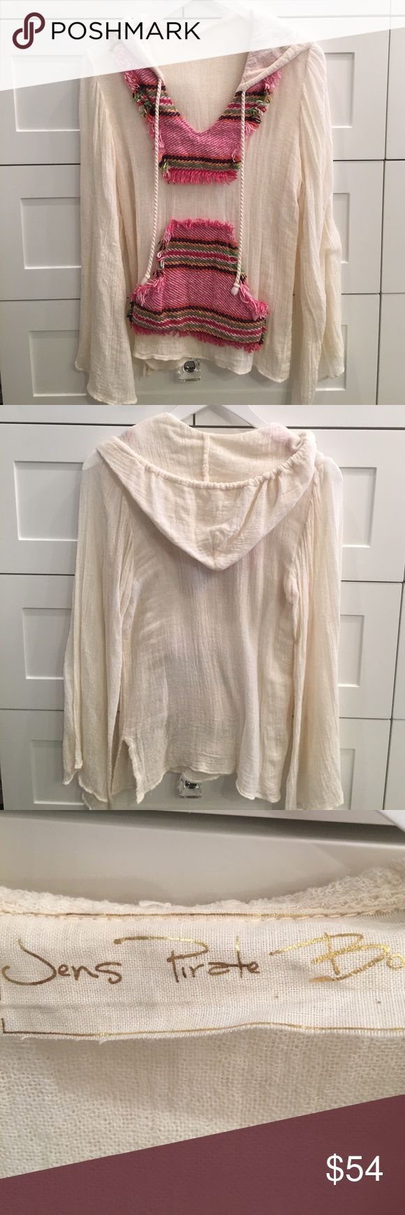 Jens Pirate Booty Poncho Cream colored gauze material with pink multi colored threading detail. Worn and washed only once. Excellent condition. The sleeves extend into a flared shape and the overall look is casual and loose fitting. Jen's Pirate Booty Tops Sweatshirts & Hoodies