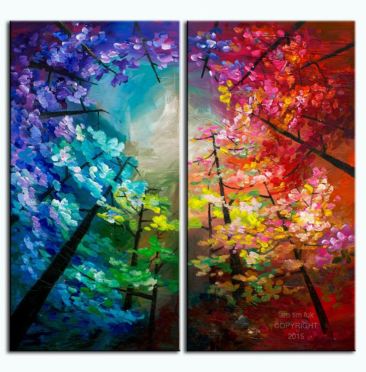 Original Landscape painting Forest skyline Art multi colors on gallery wrap…