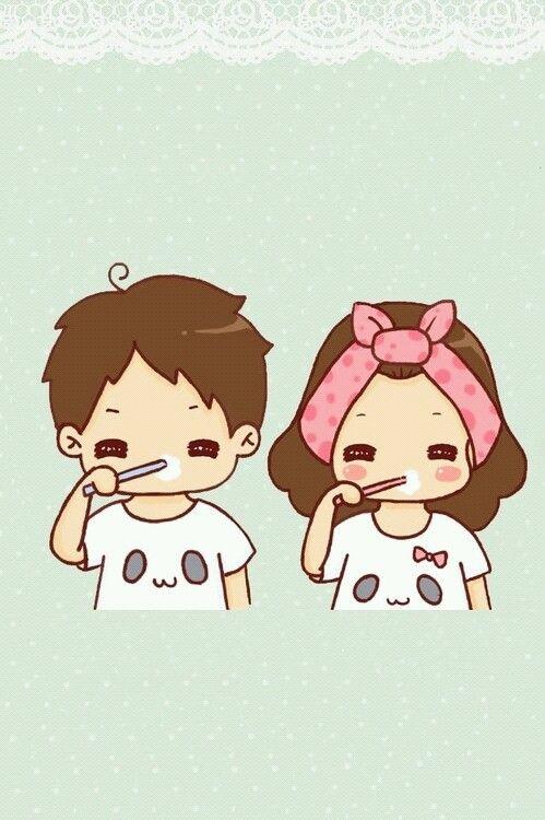 Cute couple cartoon =^.^= KAWAII =^.^= Pinterest