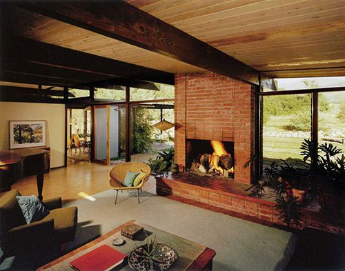 """""""The organic and warm side of a Mid Century Modern home in the Mcleod Residence, located in Claremont, California and designed by Criley & McDowell 1960."""" Photo: Julius Shulman"""