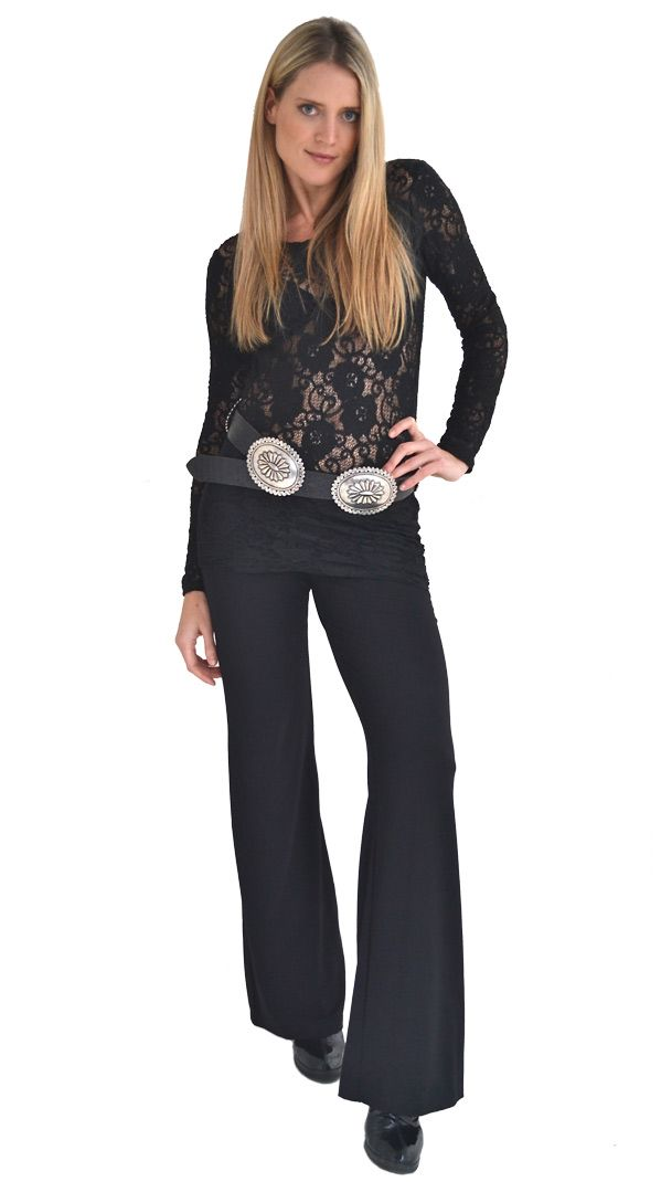 Basic Black : Black Lace Top | Philosophy clothing - designer clothing for women on the move