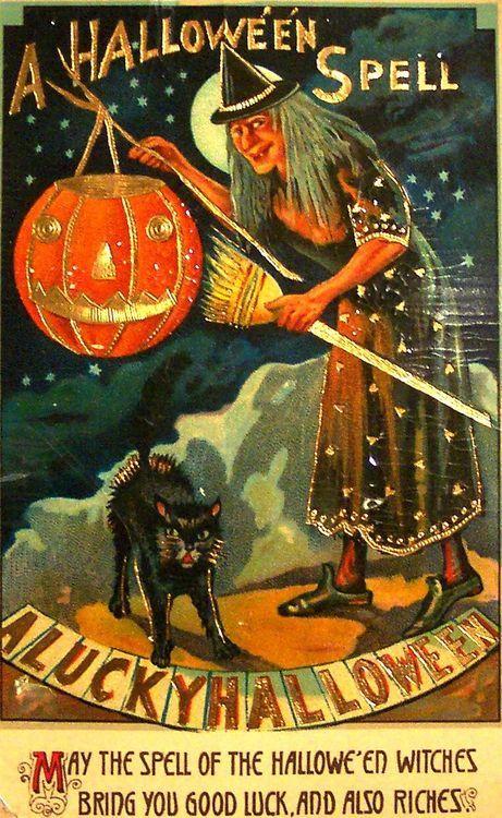 a halloween spell a lucky halloween vintage halloween card victorian witch pumpkin black cat - Vintage Halloween Witches