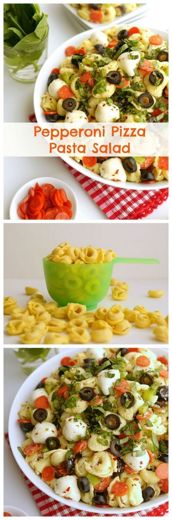 VIDEO + Recipe for Pepperoni Pizza Pasta Salad is a great side dish for a potluck or any other gathering you can think of from NoblePig.com.