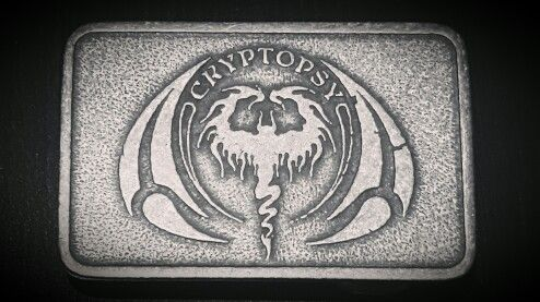 Custom belt buckles for Cryptopsy by Band-Brand!