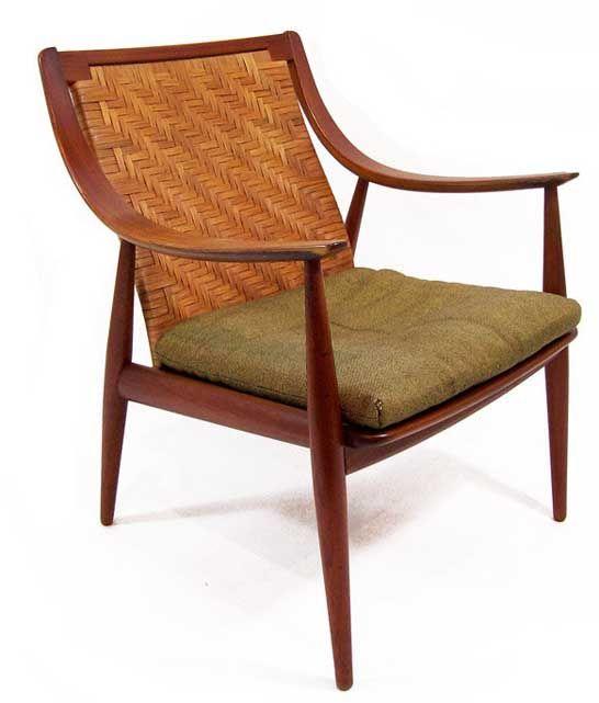 Peter Hvidt and Orla Mølgaard- Nielsen; # FD-1461953 Teak and Cane Chair for France & Daverkosen, 1953.