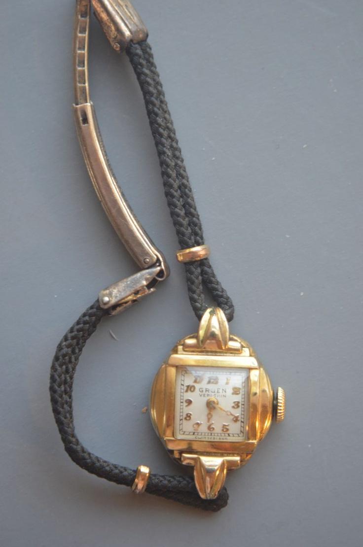 gruen ladies verithin wrist watch 17 jewels circa 1940s. Black Bedroom Furniture Sets. Home Design Ideas