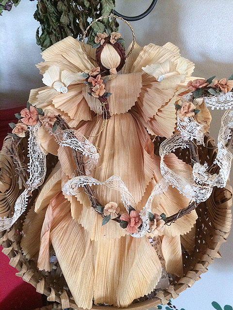 """Turtle Dove Angel"" corn husk doll circa 1998 from Gatherings at Muncy Creek Barnworks"