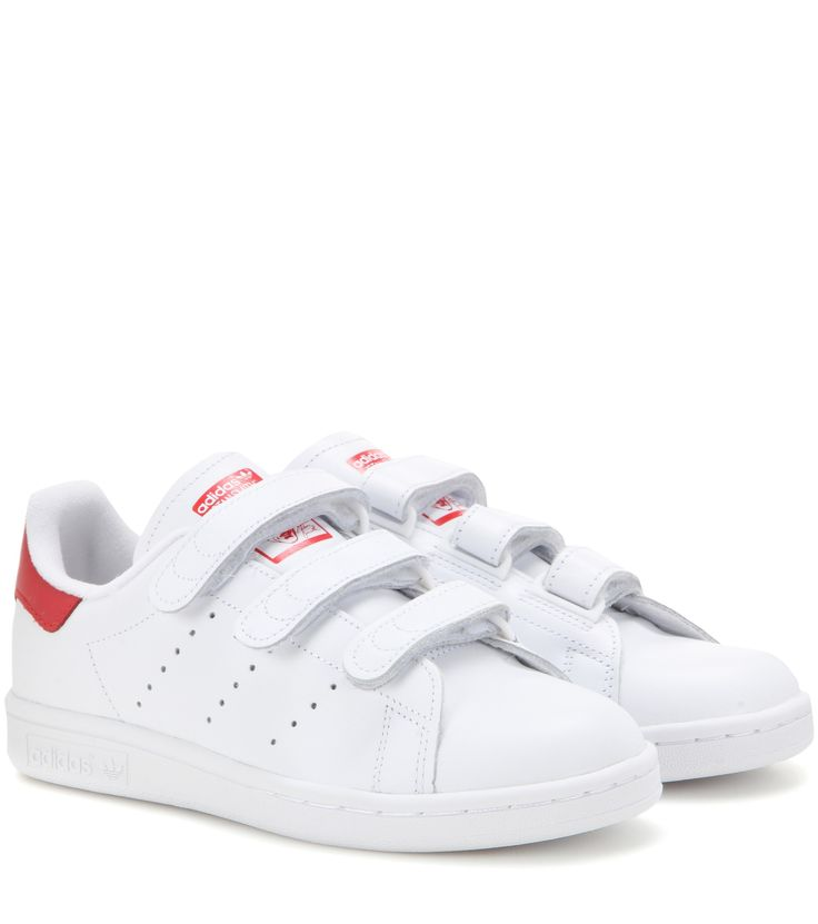 Adidas - Stan Smith leather sneakers - We love Adidas's Stan Smith sneakers, updated with smooth white leather with red accents for a modern yet minimalist twist on the retro vibe. This VELCRO®-fastening pair will fast become your ultimate statement sneakers. - @ www.mytheresa.com