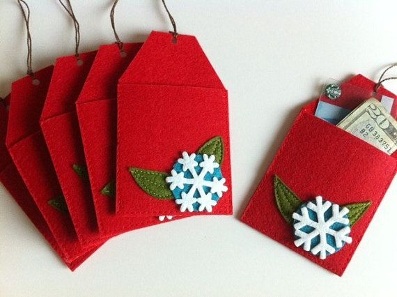 Featured in Better Homes and Gardens- Christmas Tree Gift Card Holders ornament (Set of 6)