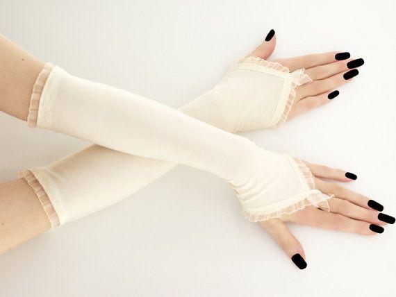 long ivory fingerless gloves elegant arm warmers lace