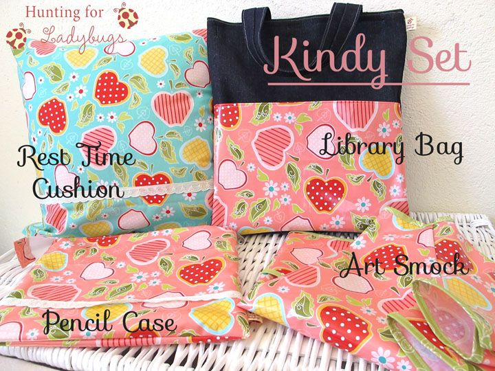 Starting School Set - pencil case, art shirt, nap time pillow, book bag - Custom Sewing Order from Hunting for Ladybugs