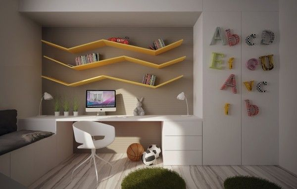 Amazing displayng letter and purpose on the shelves - ideas for kids' bedrooms.