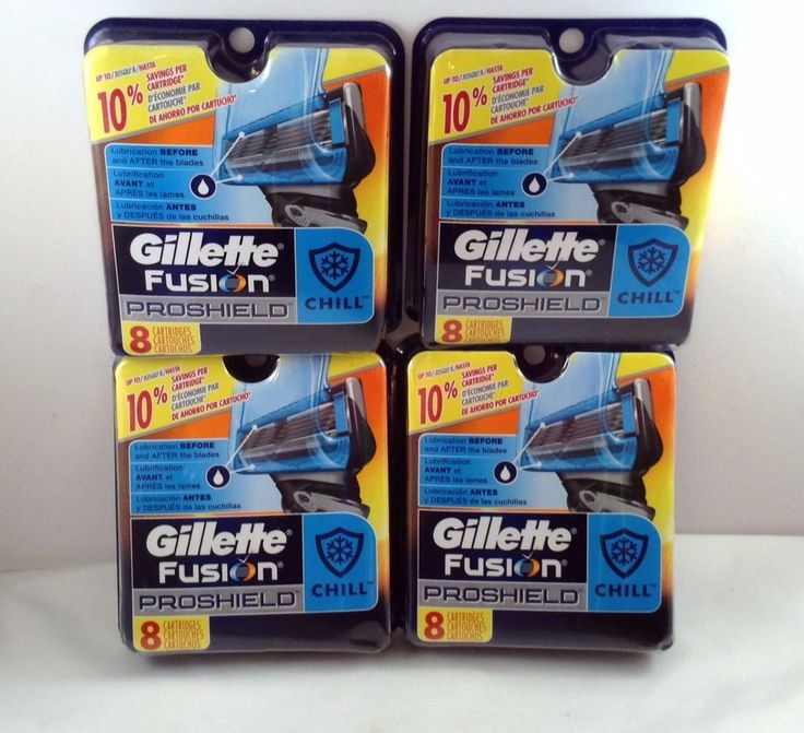 Gillette Fusion Proshield Blades Chill Cartridges 4 Packs of 8 Total 32 Refill #Gillette