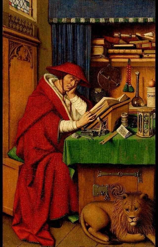 Ян ван Эйк (ок.1390-1441). Cвятой Иероним. 1442, дерево, масло, 20 x 12,5 см Детройтский Институт Искусства, Детройт, США.