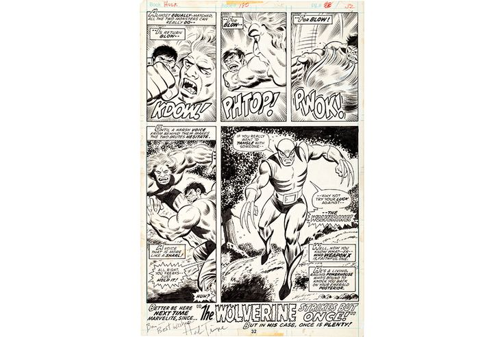 Original art from Wolverine's first appearance will set world record at Heritage Auctions
