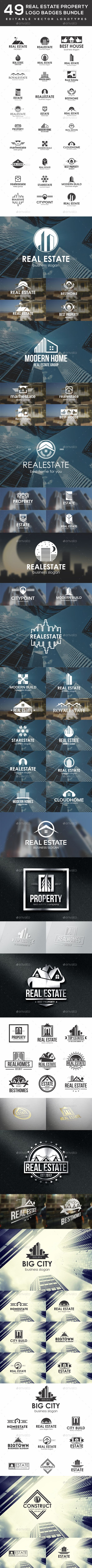 49 Real Estate Property Logo Badges Bundle — Vector EPS #bundle #custom logo design • Available here → https://graphicriver.net/item/49-real-estate-property-logo-badges-bundle/19275217?ref=pxcr