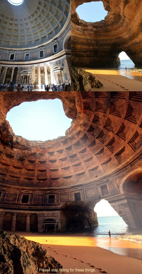 ~ The Forgotten Temple of #Lysistrata and how it was photoshopped from a picture of Algar Seco in the Algarve, Southern Portugal and the Pantheon.  With thanks to @Soni Alcorn-Hender. ~