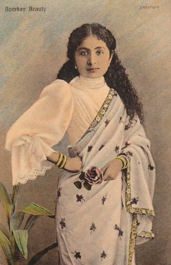 Another Tinted Postcard from the Past    vintage sarees saree history saree blouse
