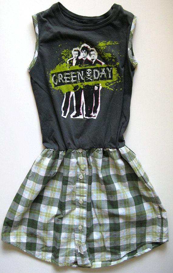 Vintage Green Day Shirt Dress